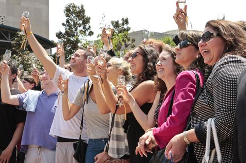 Seniors toast the Class of 2011's acheviements in Kogan Plaza Thursday. Michelle Rattinger | Senior Photo Editor