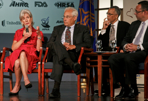 Secretary of Health and Human Services Kathleen Sebelius answers an audience question Tuesday morning in Jack Morton Auditorium at the announcement of the Million Hearts campaign to combat heart disease. To her right, from left to right, is Dr. Donald Berwick, Administrator for the Centers for Medicare and Medicaid Services; Reed Tuckson, Vice President and Chief of Medical Affairs for UnitedHealth Group and Jonathan Lever, Executive Vice President of Strategy & Innovation at the YMCA. Jordan Emont | Assistant Photo Editor