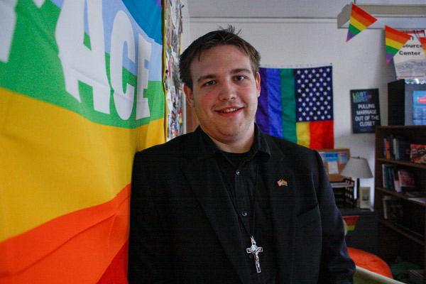 Before college, junior Damian Legacy wanted to join the priesthood to share his faith with members of the LGBT community.