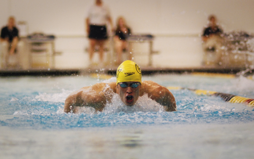Former GW swimmer Phillip Graeter charges down the pool. | Hatchet File Photo