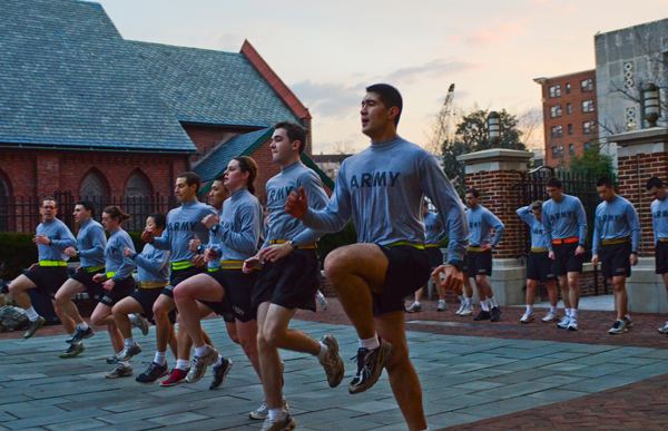 Members of the Hoya Battalion, an inter-collegiate ROTC program, exercise during an early Wednesday morning physical training session at GW. Members are required to attend PT three times a week and some members must go every weekday to either prepare or improve.