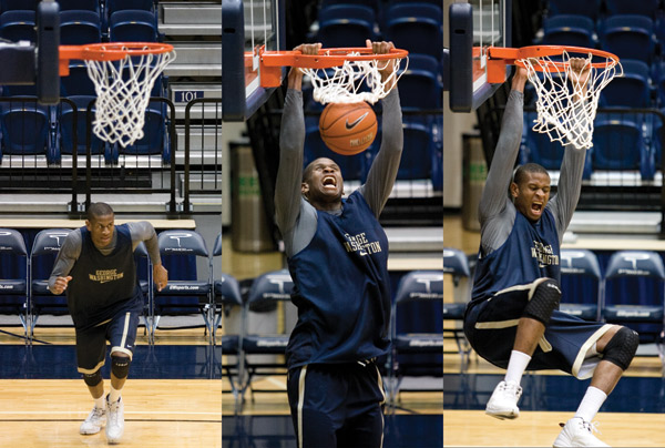 Junior forward David Pellom dunks during a men's basketball practice Monday. Pellom leads GW in dunks this season, with 31, and paces the team and the Atlantic 10 Conference in shooting percentage, posting 67.7 percent.