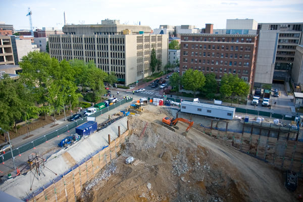 Construction continues at the Science and Engineering Hall site as workers prepare to begin controlled blasting Thursday that will last for up to six months.