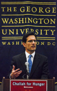 House Majority Leader and GW alumnus Eric Cantor speaks Thursday on the importance of community service and his experiences as a student at the university during Challah for Hunger, an event hosted by GW Hillel. Fresh challah bread was on sale to benefit jewish philanthropic organizations. Michael Boosalis | Hatchet Photographer