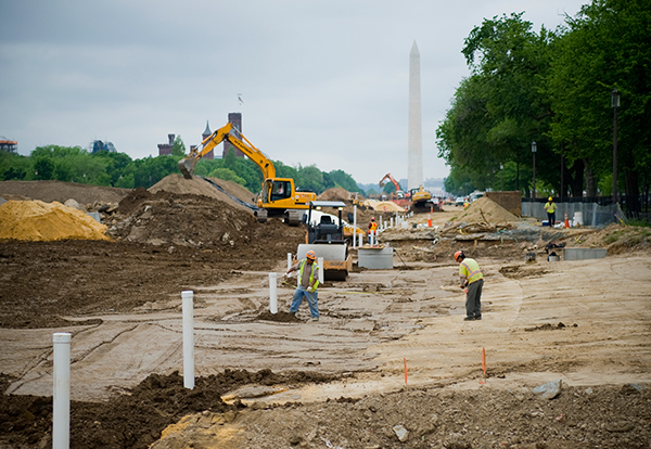 Construction work continues on the National Mall between 4th and 7th streets, forcing this year's University-wide Commencement to shift closer to the Washington Monument – the ceremony's backdrop.