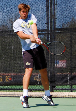 Freshman Francisco Dias plays Sunday's match against Radford on the Mount Vernon Campus.