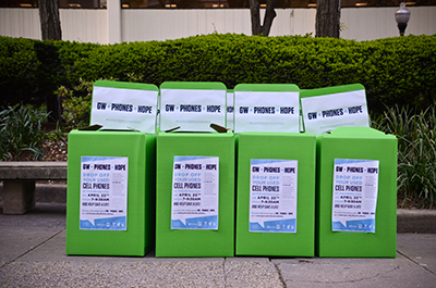 Donation boxes are positioned outside the Metro station with the hope of collecting 20,000 devices. The effort was part of the Clinton Global Initiative University.