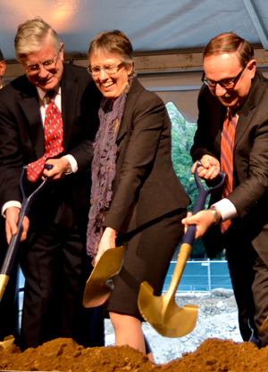 Dean Peg Barratt participates in the groundbreaking for the Science and Engineering Hall in October. The allocation of space in the new building has caused tension among professors within the school.