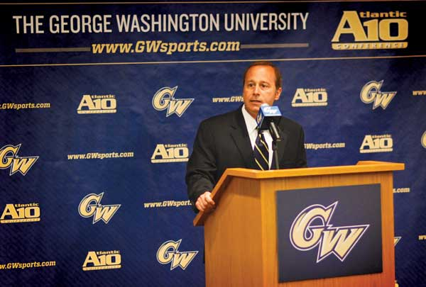 Athletic director Patrick Nero speaks at the introductory press conference for newly hired women's basketball coach Jonathan Tsipis in April. Nero said his second year in office will be focused largely on supporting the department's fundraising efforts.