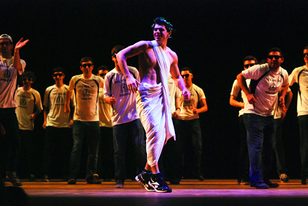Steven Kaye, a senior and member of the Zeta Beta Tau fraternity, performs a skit as part of Greek Week. He was part of Team Aphrodite, which included members from Alpha Phi, Sigma Alpha Epsilon, Kappa Phi Lambda and Lambda Upsilon Lambda. The annual event brings 40 chapters from the Inter-Fraternity Council, the Panhellenic Association and the Multicultural Greek Council together.