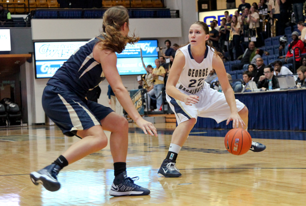 Senior forward/guard Megan Nipe faces down a Wingate defender in a game earlier this season at the Smith Center. In Wednesday night's game, Nipe scored 14 points on 4-for-10 shooting.