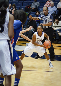 Then-senior Danni Jackson looks for an open teammate last season. Hatchet File Photo