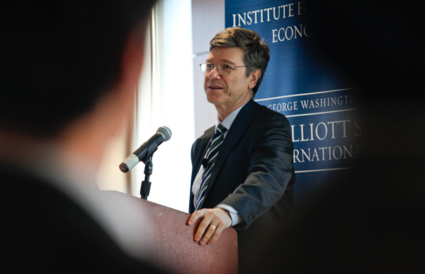 Jeffrey Sachs, one of the world's most influential economists, turned up the heat on the Obama administration and international leaders to take action on climate change Monday at the Elliott School of International Affairs. Sachs is the director of Columbia University's Earth Institute and a special adviser to the United Nations.