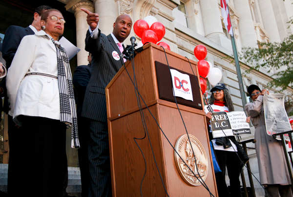 D.C. councilmember Michael Brown discusses intensifying the campaign for D.C. statehood in November 2011. Rep. Eleanor Holmes Norton reintroduced a bill that would grant the District statehood last week.