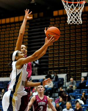 Chekecia Miller goes for a basket at a game earlier this season.