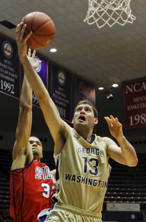 Then-freshman forward Patricio Garino goes up for a lay up against a Richmond defender last year.