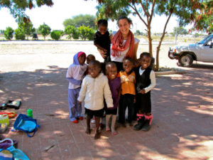 Julie Hyman, a 2010 alumna, volunteered two years ago for the Peace Corps in Namibia, where she helped build a community library. Photo courtesy of Stephen Chapman