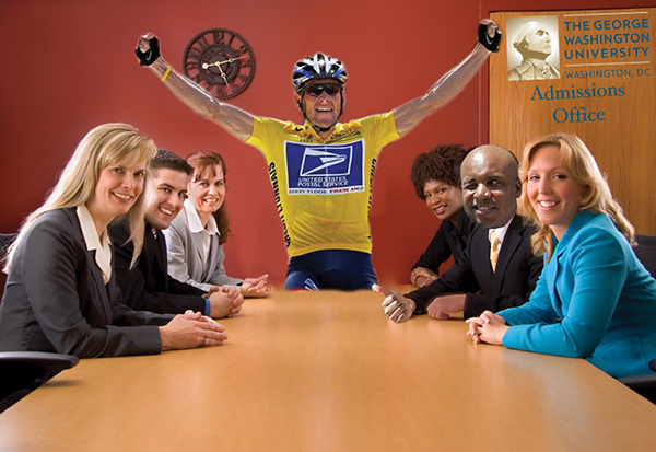 New admissions dean Lance Armstrong will take over an office notorious for inflated achievements.