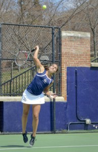 Leah Pascarella serves at a match on the Mount Vernon Campus last season. Hatchet File Photo