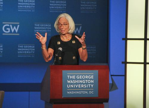 IMF Managing Director Chrsitine Lagarde discussed the global economy at GW's Jack Morton Auditorium. Jamie Fink | Hatchet Photographer