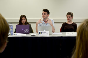 Sen. Nick Gumas, CCAS-U, sponsored both bills at the Monday meeting. Erica Christian | Contributing Photo Editor
