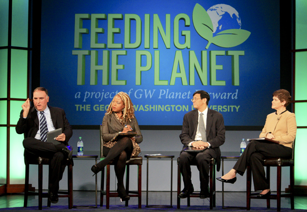 Chef Jose Andres spoke on a panel moderated by Senior BET Networks director Marie Nelson, alongside food policy researcher Shenggen Fan, and deputy secretary of agriculture Krysta Harden. Nicole Radivilou | Hatchet Photographer