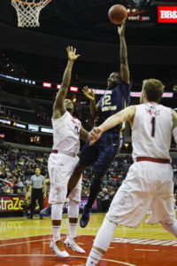 Forward Isaiah Armwood puts up a shot in the paint against Maryland Sunday. Cameron Lancaster | Photo Editor