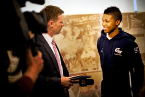 Kye Allums speaks to a reporter after coming out as the first transgender athlete to play Division 1 basketball in 2010. Hatchet File Photo