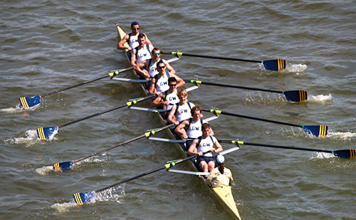 Men's rowing competed for the Stevenson Cup on Sunday, placing third behind Navy and Columbia. Hatchet File Photo