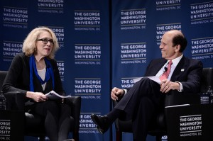 Goldman speaks with philanthropist Michael Milken at an alumni event in New York last October. Photo courtesy of GW Media Relations