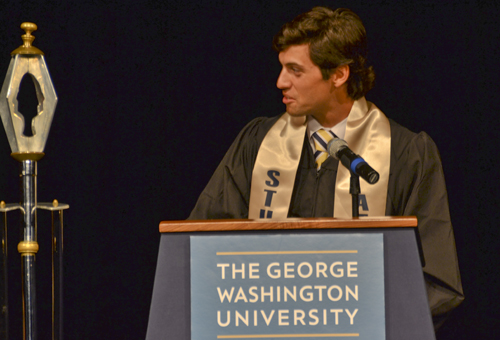 Senior Colin Milon, a pitcher for GW's baseball team, spoke to members of the baseball team, men's rowing team and their family and friends during a special commencement ceremony. Kendall Payne | Hatchet Staff Photographer