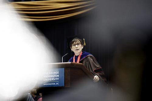Faculty Speaker Melani McAlister, Associate Professor of American Studies and International Affairs, addresses the Columbian College graduates on Saturday. Cameron Lancaster | Assistant Photo Editor