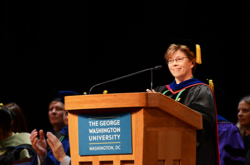 Mary Corcoran, associate dean and master of ceremonies at the 2014 Health Sciences Graduation Celebration. Katie Causey | Hatchet Photographer