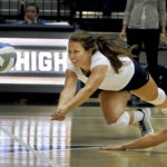 Freshman defensive specialist Christina Porada dives for a ball in a game earlier this season. Hatchet File Photo