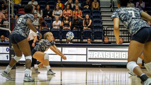 Junior setter Jordan Timmer prepares to pass the ball to her teammate in GW's match against Baylor on Friday. Timmer tallied 34 assists in the Colonials' three-set loss. Andrew Goodman | Hatchet Staff Photographer