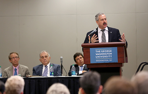 At the Faculty Assembly on Tuesday, Provost Steven Lerman told professors that GW hoped to restore about $20 million in expenditures that it was forced to cut this year. Daniel Rich | Hatchet Photographer
