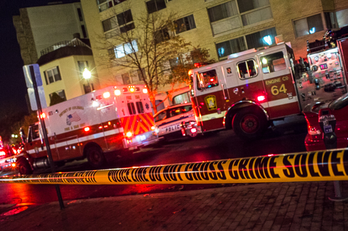 Ambulances and fire trucks were outside the Jefferson House for several hours Thursday night. Zach Montellaro | Hatchet Staff Photograper