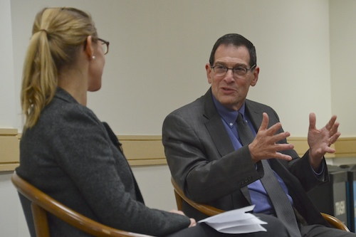 Ambassador James Kolker, assistant secretary for global affairs at the U.S. Department of Health and Human Services, spoke in the Marvin Center Monday. Katie Causey | Hatchet Staff Photographer