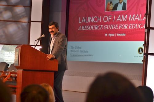 Ziauddin Yousafzai, father of 17-year-old, Nobel Peace Prize-winning Pakistani activist Malala Yousafzai spoke at GW Thursday. Aly Kruse   Hatchet Photographer