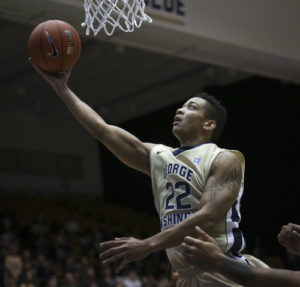 Junior Joe McDonald didn't stray from the basket as he scored 18 points over in GW's 81-68 win over DePaul. Cameron Lancaster | Photo Editor