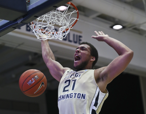 Junior Kevin Larsen came alive in the Colonials 81-68 domination over the Blue Devils, recording 18 points and 8 rebounds. Cameron Lancaster | Photo Editor