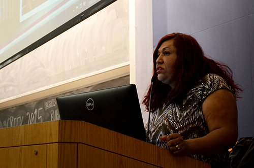 Ruby Corado, founder of Casa Ruby, the only bilingual, multicultural LGBT organization in D.C., gave the keynote address as part of Allied in Greek Week. Katie Causey | Hatchet Staff Photographer