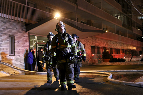 Firefighters Exit Potomac Plaza Terraces, After Residents Were Evacuated  Sunday Night Due To An Oven