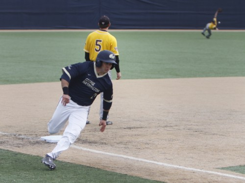 Senior Ryan Xepoleas makes his way toward first base in a game earlier this season. File Photo by Andrew Goodman | Hatchet Staff Photographer