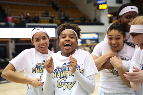 Camila Tapias and Lauren Chase show their excitement after the Colonials' victory over George Mason.