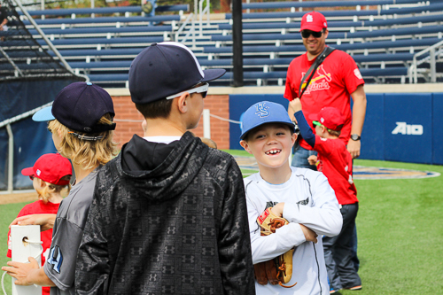 Local Little Leaguers watching batting practice before the GW baseball game on April 19. Zach Montellaro | Hatchet Staff Photographer