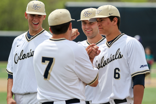 Matt Cosentino (no. 7) greets teammates during the pregame introductions. Cosentino would go 1-3 at the plate. Zach Montellaro | Hatchet Staff Photographer