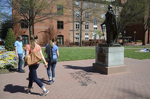 A statue of George Washington was vandalized Sunday. Katie Causey | Hatchet Staff Photographer