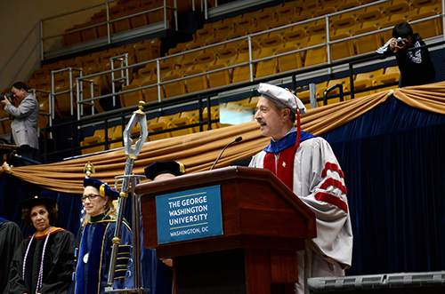 Provost Steven Lerman charged GW's doctoral graduates to never stop learning, even in areas they did not receive their degree in. Katie Causey | Photo Editor