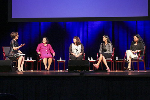 Joie Chen, left, an Al Jazeera America anchor, led a panel on the rights of Asian American Pacific Islanders and women during a White House summit on the Asian American Pacific Islander community Tuesday. Desiree Halpern | Photo Editor